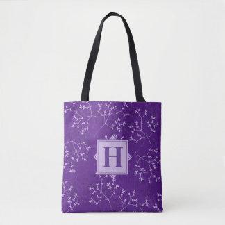 O roxo delicado ramifica sacola do monograma bolsa tote