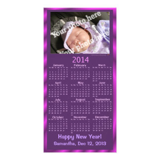 O roxo do cartão do calendário do ano 2014 novo ad cartões com fotos personalizados