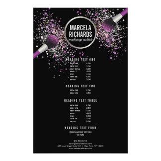 O roxo e a prata coram maquilhador dos confetes flyer 13.97 x 21.59cm