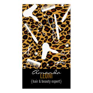 O salão de beleza do impressão do leopardo utiliza cartão de visita