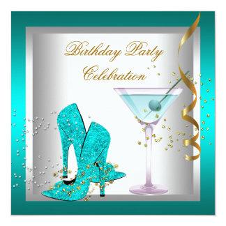 O salto alto azul da cerceta calça a festa de convite quadrado 13.35 x 13.35cm