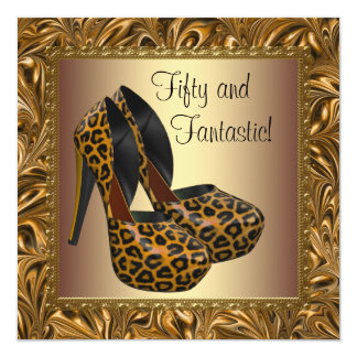O salto alto calça aniversário do ouro do leopardo convite quadrado 13.35 x 13.35cm