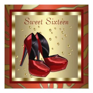 O salto alto calça o aniversário vermelho do doce convites personalizado