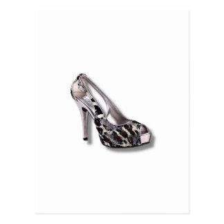 O salto alto de prata adiciona a jóia animal do im cartões postais