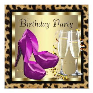 O salto alto dos cocktail calça a festa de convite quadrado 13.35 x 13.35cm