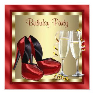 O salto alto vermelho dos cocktail calça a festa convite quadrado 13.35 x 13.35cm