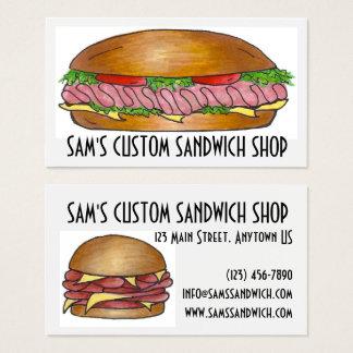 O sanduíche imprensa o supermercado fino da comida cartão de visitas