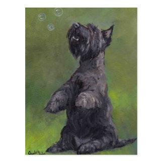 """O """"Scottie ama cartão da arte do cão das bolhas"""""""