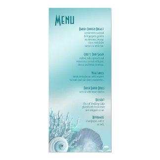 O Seashell sonha o aqua do menu do casamento de Convite 10.16 X 23.49cm