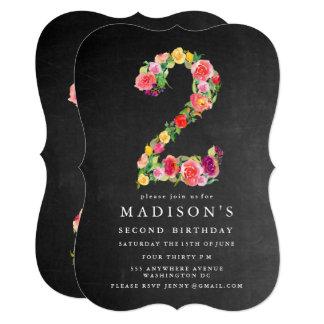 O segundo aniversário das meninas do quadro da convite 12.7 x 17.78cm