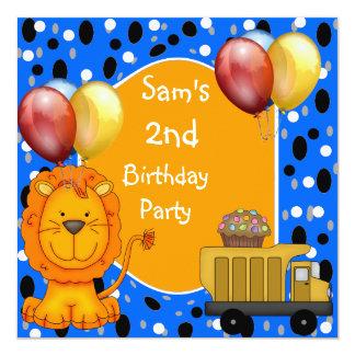 O segundo aniversário mancha balões do cupcake do convites personalizados