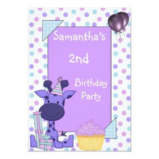 O segundo aniversário mancha os balões do cupcake convite 12.7 x 17.78cm