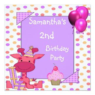 O segundo aniversário mancha os balões do cupcake convite quadrado 13.35 x 13.35cm