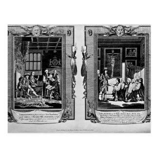O senhor Cromwell apresenta a bíblia a Henry VIII Cartão Postal