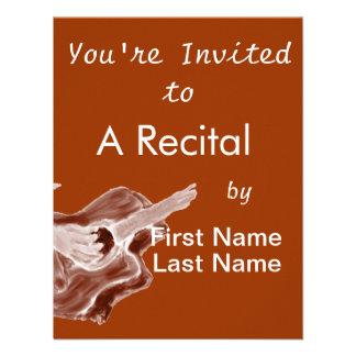 O sepia da pintura da guitarra acústica tonificou convites personalizado
