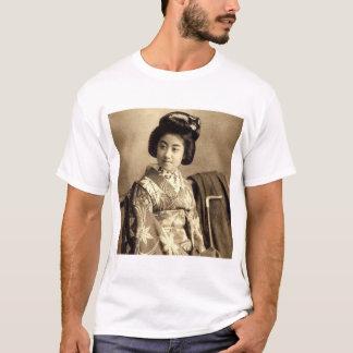 O Sepia japonês do vintage clássico tonificou o 芸者 Camiseta
