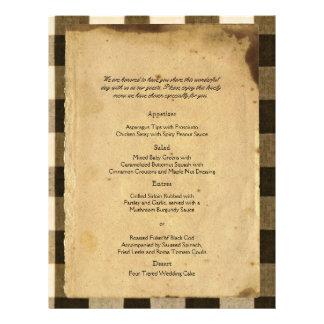 O Sepia rústico do preto do país verifica o menu Panfleto