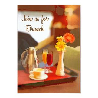 O serviço de café em uma bandeja junta-se para a convite 12.7 x 17.78cm