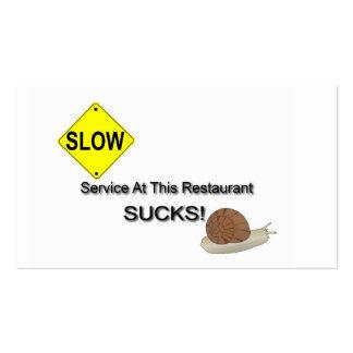 """O """"serviço neste restaurante suga! """" cartão de visita"""