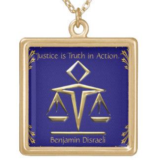 O significado de justiça - ouro+Azul (personalizad Colar Com Pendente Quadrado