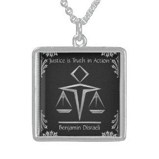 O significado de justiça - prata+Preto-Personaliza Colar Com Pendente Quadrado