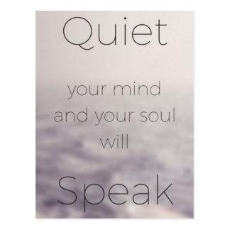 O silêncio sua mente e sua alma falará cartão postal