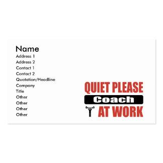 O silêncio treina por favor no trabalho cartão de visita