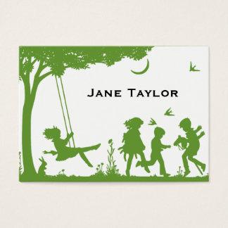 O Silouette das crianças Cartão De Visitas