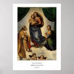 """O """"Sistine clássico Madonna"""" de Raphael (cerca de  Posters"""
