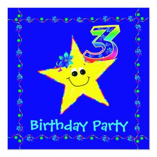 O smiley do partido de aniversário de 3 anos Stars Convite Quadrado 13.35 X 13.35cm