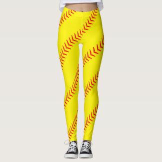 O softball amarelo brilhante costura caneleiras legging