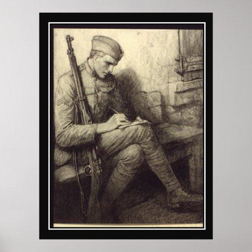 O soldado escrevendo uma letra no poster vintage d