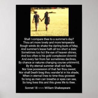 O soneto 18 de Shakespeare - impressão da arte