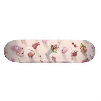 O sonho cor-de-rosa da menina shape de skate 18,1cm