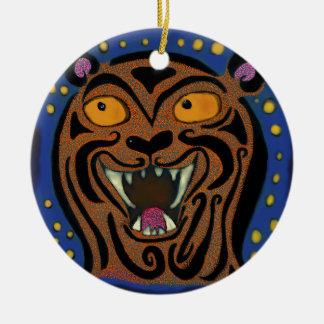 O sorriso do tigre ornamento de cerâmica redondo