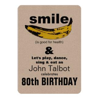 O sorriso é bom - convite de aniversário do 80
