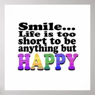 O sorriso e esteja feliz impressão