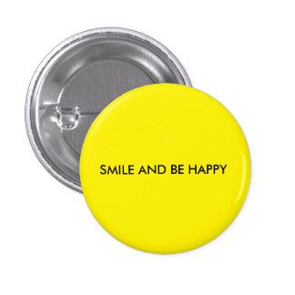 O sorriso e seja botão amarelo redondo feliz bóton redondo 2.54cm