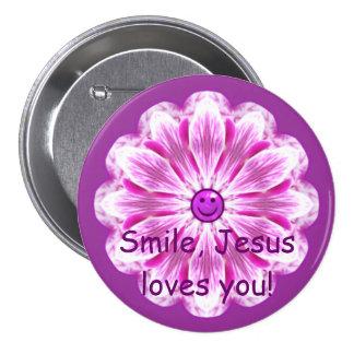 O sorriso, Jesus ama-o! Bóton Redondo 7.62cm