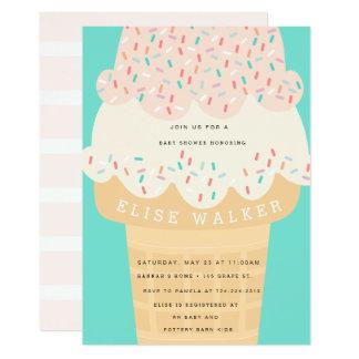 O sorvete & polvilha o convite do chá de fraldas