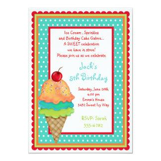 O sorvete trata convites do menino do aniversário