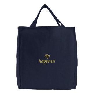 O sorvo acontece Saco bordado engraçado Bolsas De Lona