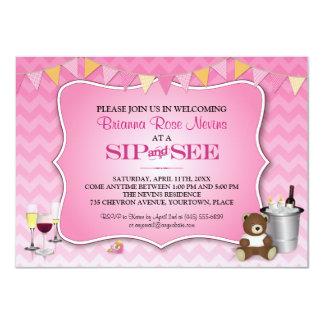 O sorvo cor-de-rosa do bebê de Ombre Chevron e vê Convite 11.30 X 15.87cm