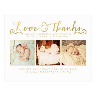 O sorvo do anúncio do nascimento do bebê do ouro cartões postais