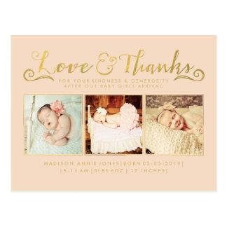O sorvo do anúncio do nascimento do bebê do ouro cartão postal
