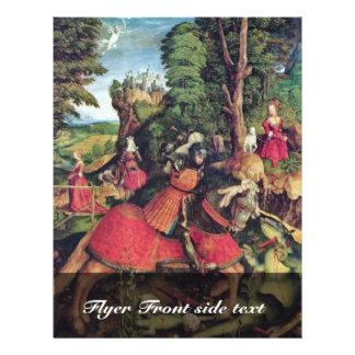 O St George que luta o dragão por Beck Leonhar Modelos De Panfleto