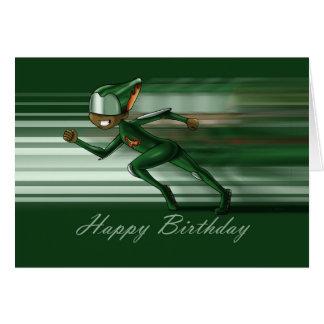 O super-herói acelera o cartão de aniversário