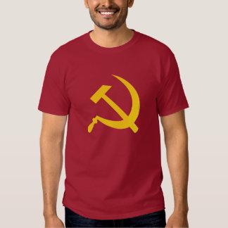 O t-shirt (amarelo) dos homens do martelo e da
