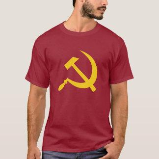 O t-shirt (amarelo) dos homens do martelo e da camiseta