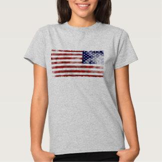 O t-shirt básico das mulheres da bandeira dos EUA